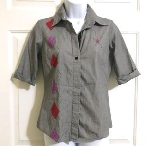 Volcom Argyle Shmargyle Button Down Shirt Top